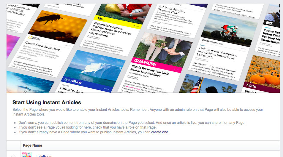 Start Using Instant Articles